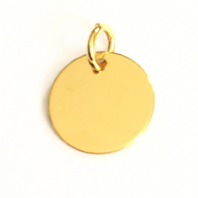 Sterling Silver Disc Charm 10mm 24K Gold Plated